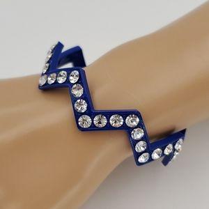 Cobalt Blue Lightning Bolt Bangle Bracelet